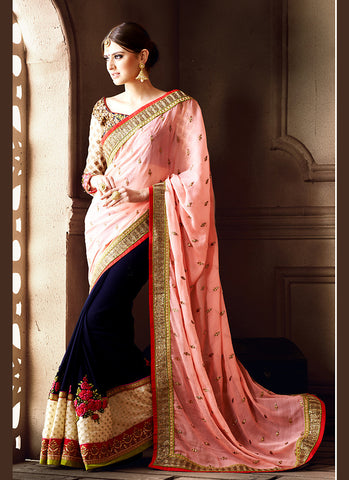Salmon Saree With Exquisite Embroidered Pallu