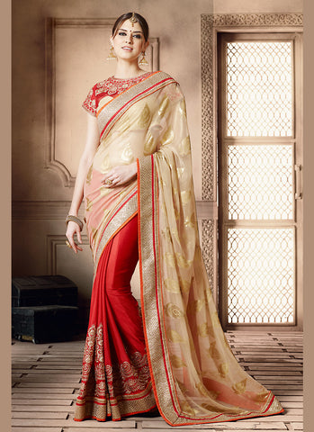 Exquisite Ethnic Brown Crystals Stones Saree For Womens