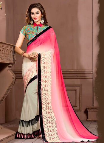 Georgette Based Contemporary Pattern Saree In Pink Color