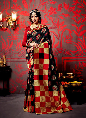Classic Looking Silk Black Ethnic Saree For Womens