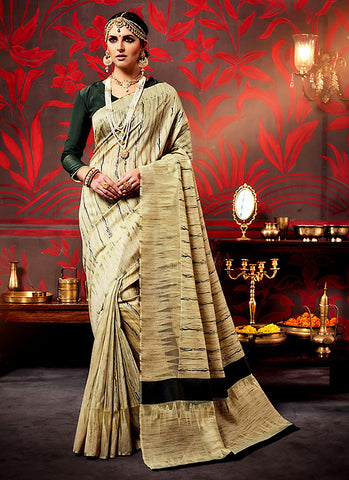 Traditional Looking Silk Brown Saree For Womens
