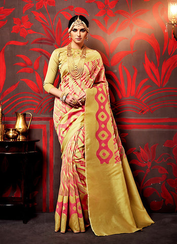 Attractive Looking Brown Silk Ethnic Saree For Women