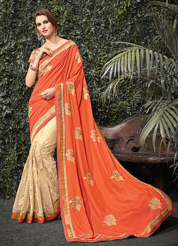 Beautiful Looking Net Orange Ethnic Saree For Womens