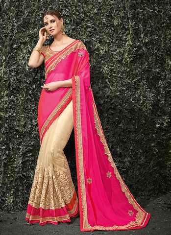 Women's Attractive Looking Pink Beads, Resham, Lace & Butta Work Ethnic Saree