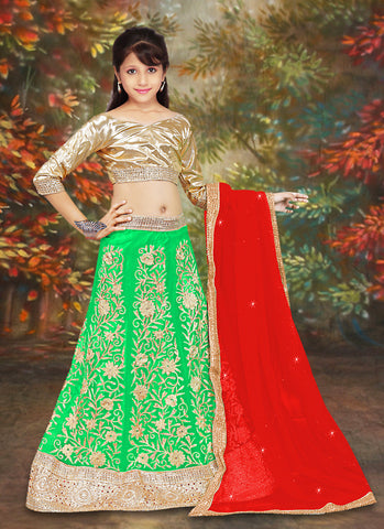 Net & Incredible Gold Color With Lace & Crystals Stones Work Girl's Readymade Lehenga Choli