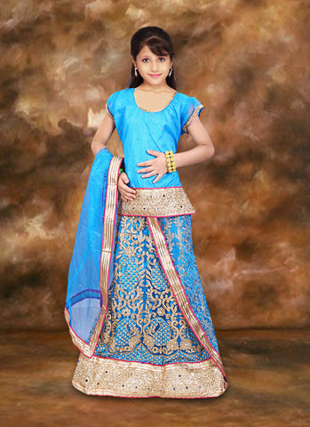 Charming Blue Net Girl's Readymade Lehenga Choli