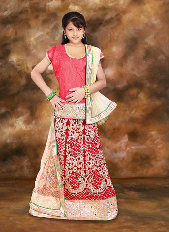 Charming Red Net Girl's Readymade Lehenga Choli