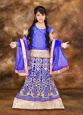 Net & Incredible Blue Color With Embroidery & Lace Work Girl's Readymade Lehenga Choli