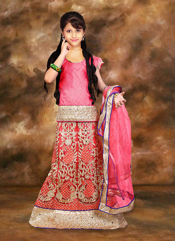 Net & Incredible Pink Color With Mirror & Crystals Stones Work Girl's Readymade Lehenga Choli