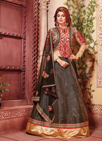 Women's Art Silk Fabric & Black Pretty A Line Lehenga Style