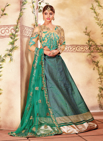 Women's Art Silk Fabric & Green Pretty Circular Lehenga Style