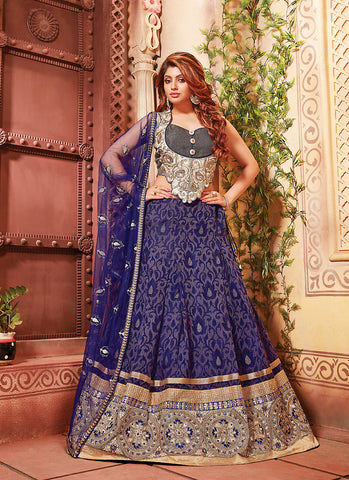 Women's Art Silk Fabric & Blue Pretty Circular Lehenga Style