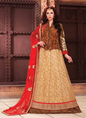 Women's Art Silk Fabric & Brown Pretty Circular Lehenga Style