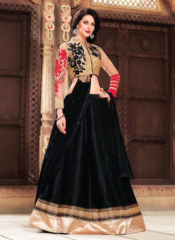 Women's Art Silk Fabric & Black Pretty Circular Lehenga Style