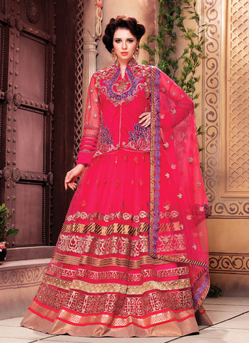 Women's Art Silk Fabric & Pink Color Pretty Circular Lehenga Style
