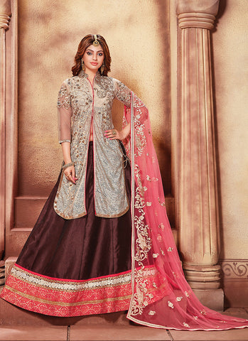 Women's Art Silk Fabric & Beige Color Pretty Circular Lehenga Style