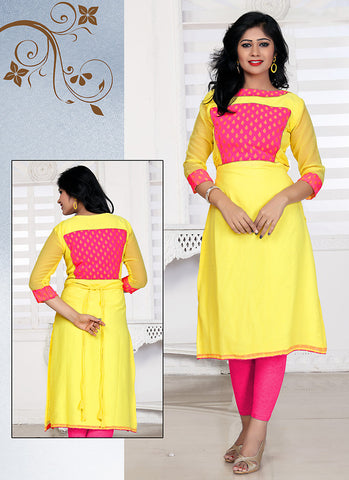 Incredible Straight Kurti Style in Georgette & Yellow