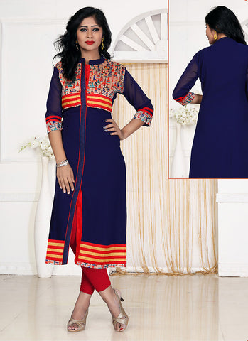 Incredible Achkan Kurti in Georgette & Blue