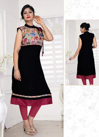 Black Color with Lace Work Incredible Readymade Kurti