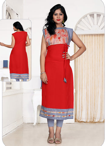 Incredible Straight Kurti Style in Georgette & Red
