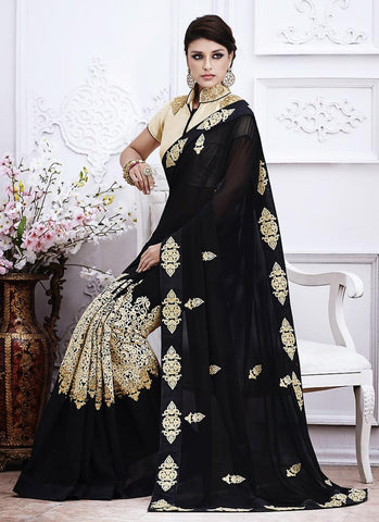 Black Saree With Beautiful Fancy Pallu