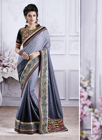 Women's Attractive Looking Ethnic Jacquard Grey Saree