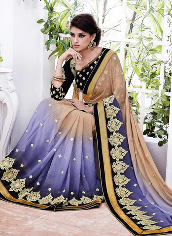 Wonderful Embroidered Pallu Saree in Tan Brown