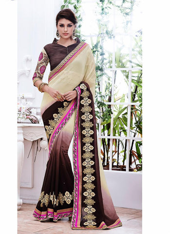 Women's Attractive Looking Beige Butta Work, Crystals Stones, Lace & Resham Ethnic Saree