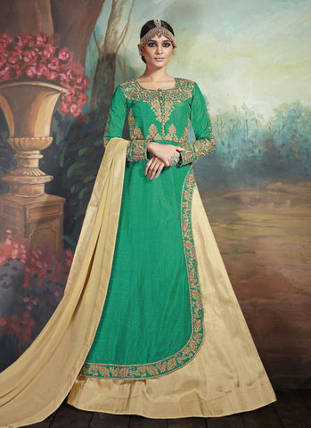Achkan Style Incredible Salwar Kameez in Green & Silk Fabric