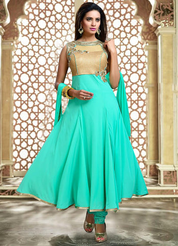 Art Silk Fabric & Turquoise Color Attractive Churidar Style In Anarkali Look