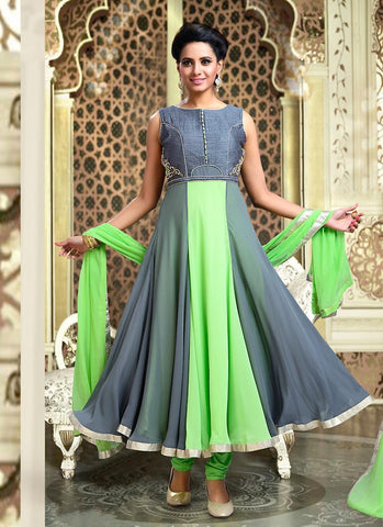 Lycra Fabric & Mint Green Color Attractive Churidar Style In Anarkali Look