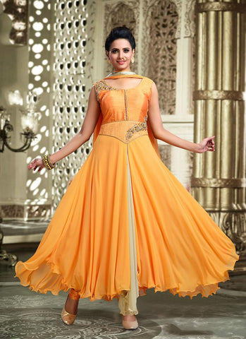 Lycra Fabric & Yellow Color Attractive Churidar Style In Anarkali Look