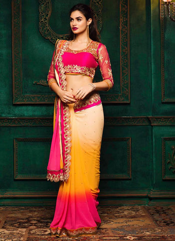 Traditional Looking Satin Brown Saree For Womens
