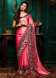Georgette Based Deep Scarlet Saree