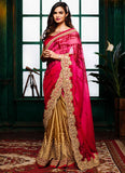 Traditional Looking Satin Pink Saree For Womens