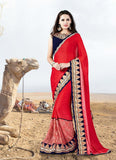Woemn's Traditional Looking Lycra Red Ethnic Saree