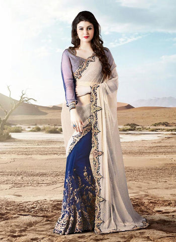 Woemn's Traditional Looking Lycra Blue Ethnic Saree
