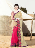 Attractive Looking Pink Lycra Ethnic Saree For Women