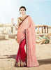 Salmon Lycra Saree with V Neck Blouse