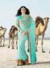 Women's Attractive Looking Turquoise Butta Work, Lace & Resham Ethnic Saree