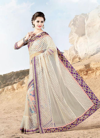 Women's Attractive Looking White Jacquard Ethnic Saree