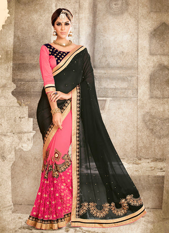 Beautiful Looking Georgette Black Women Ethnic Saree