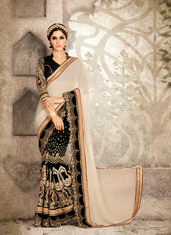 Exquisite Women's Ethnic Black Butta Work Saree