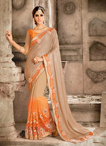 Exquisite Ethnic Net Brown Women's Saree