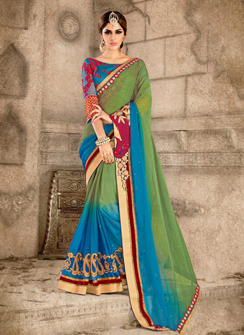 Cute Fancy Pallu Saree in Chrome Green Color
