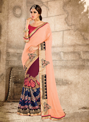 Salmon Color Saree With Fancy Pallu