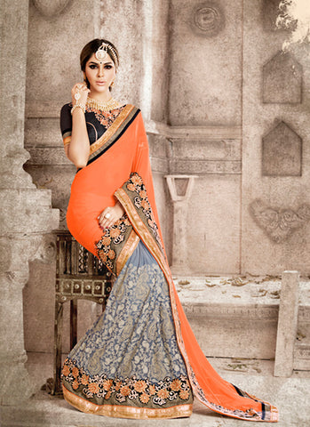 Exquisite Ethnic Orange Lace Saree For Womens