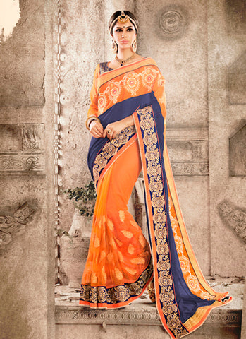 Exquisite Ethnic Orange Butta Work Saree For Womens