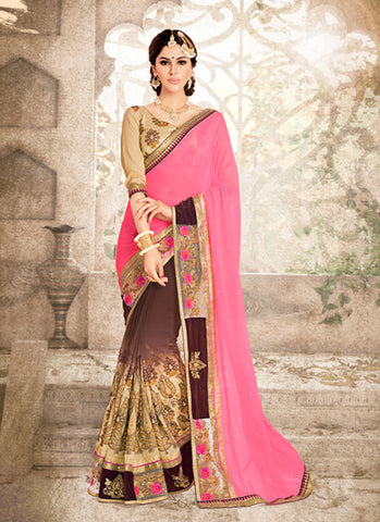 Rose Pink Georgette Saree with V Neck Blouse