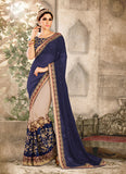 Striking Fancy Pallu Saree in Navy Blue